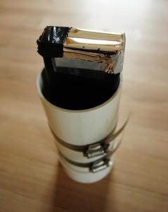 Mørkemåleren udstyret med solfilter. Solfilteret en en fotografisk udgave af den vi kender fra solformørkelsesbrillerne, den har derfor en densitet på ND 3,8.