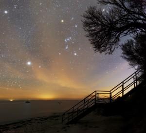 Her i marts hænger Orion højt på sydhimlen, lige efter det sidste lys fra solnedgangen er tonet ud på vesthimlen. Tilsat lyden af bølgeslag er stemningen fantastisk.