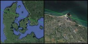 Den grønne linje viser banen for strejfokkultation af Aldebaran d. 21. april 2015. Nordfor linjen var det en normal okkultation, sydfor linjen en tæt passage. Som det ses af det venstre kort passere banen lige nordfor Sjælland. Det højre viser hvor banen passerede fast grund på Sjælland, Gilleleje havn.