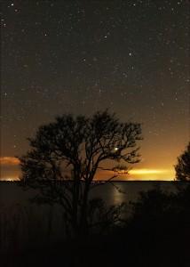 Venus trækker en lysbro mellem Nyord og Sydsjælland.